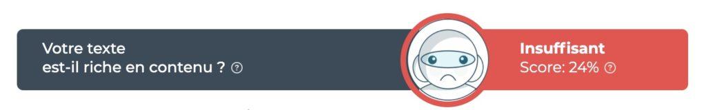 Résultat du pourcentage d'optimisation d'un contenu via TextOptimizer pour illustrer l'importance de l'optimisation d'un contenu pour un meilleur référencement